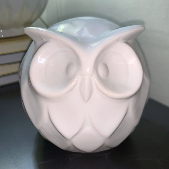 White Porcelain Ceramic Owl Figurine Home Accent